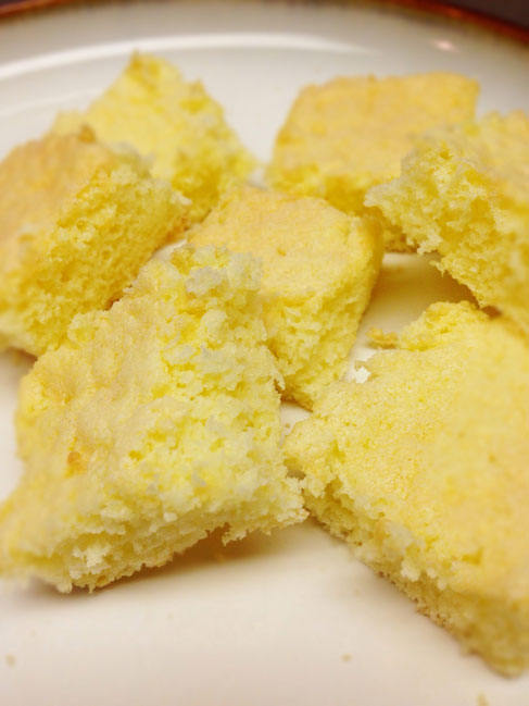 Gluten free iced sponge-cake squares without icing