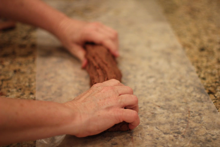 Shaping gluten free old-fashioned mint chocolate fudge