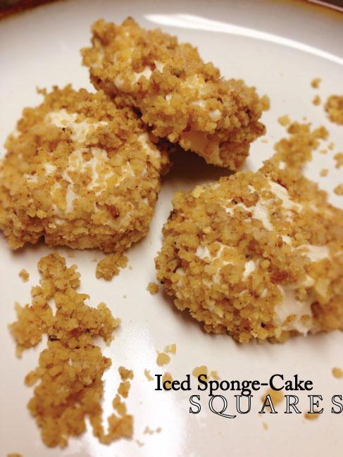 Gluten free iced sponge-cake squares