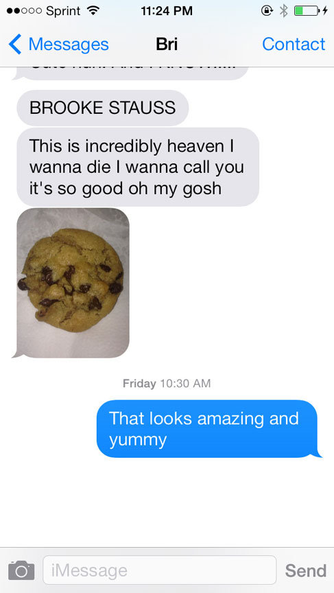 Text message conversation about discovery of the Pillsbury Gluten Free Line