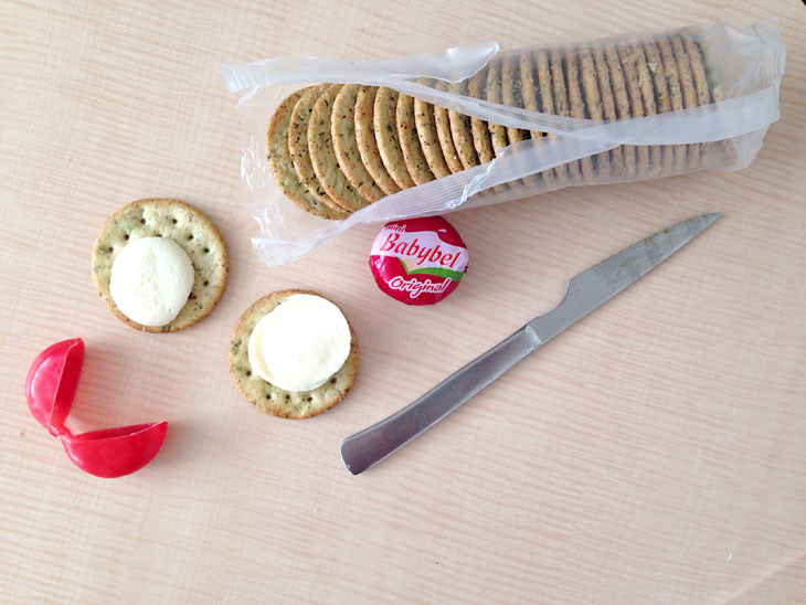 Breton gluten free crackers with Babybel cheese