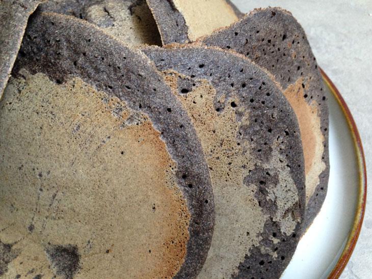 Closeup of buckwheat pancakes